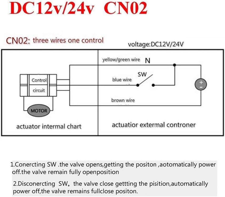 Voltage : DC12v, Wiring Control : CR01 1//2 inch AC220v DC24v DC12v motorized brass ball valve 3 way dn15 plumbing valve electrovalve electric valve actuator CN01 CN02 Inlet