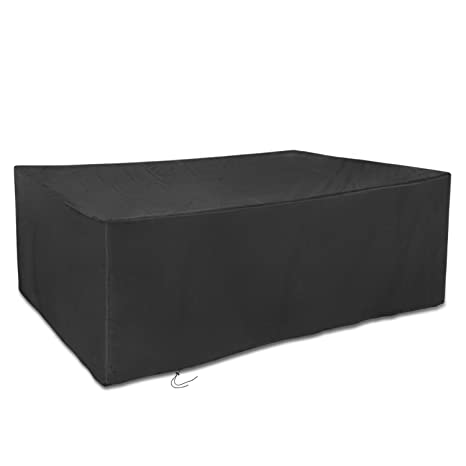 225 & Dokon Large Patio Set Cover Waterproof Breathable Oxford Fabric Outdoor Garden Furniture Cover Rectangular (270x180x89cm) - Black