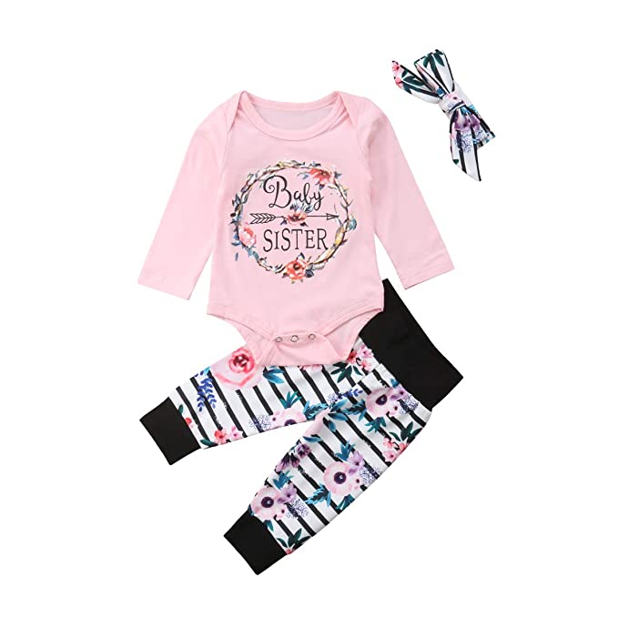 f6047f6c5b241 3pcs Baby Girl Pants Outfit Floral Long Pants +Letter Cotton Short Sleeve  Romper+Headband Baby Outfits Clothes Set