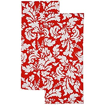 Yourtablecloth Decorative Dish Towels Ideal Cotton Tea Towels, Kitchen Dish Towels, or General Purpose Kitchen Towels 100% Cotton Machine Washable-Set of 2- Red
