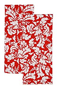 Yourtablecloth Kitchen Towels – Set of 2 – Ideal as Kitchen Dish Towels, Cotton Tea Towels or General Purpose Kitchen Towels 100% Cotton with High Absorption Capacity Machine Washable-Tango Red