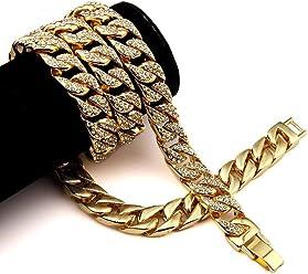 Miami Cuban Link Cadena Cubana De Hombre Titanium Chapada En Oro Eslabón Cubano para Hombres 15MM