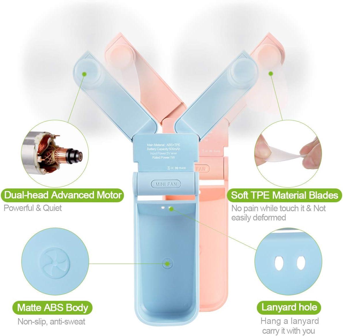 Bayline Mini Portable Fan Handheld Fan Rechargeable Mini Fan Battery Operated Pocket Fan Dual Head Fan for Travel Office Camping Hiking 2 Speeds Strong Wind Pink
