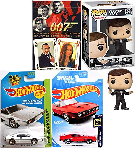 Agent James Bond Moore Figure & Car 007 Vinyl Spy who Loved me Pop Character Bundled with Lotus S1 Bundled with Theme Deck Cards & Diamonds are Forever Die-Cast Vehicle Collectibles 4 Items