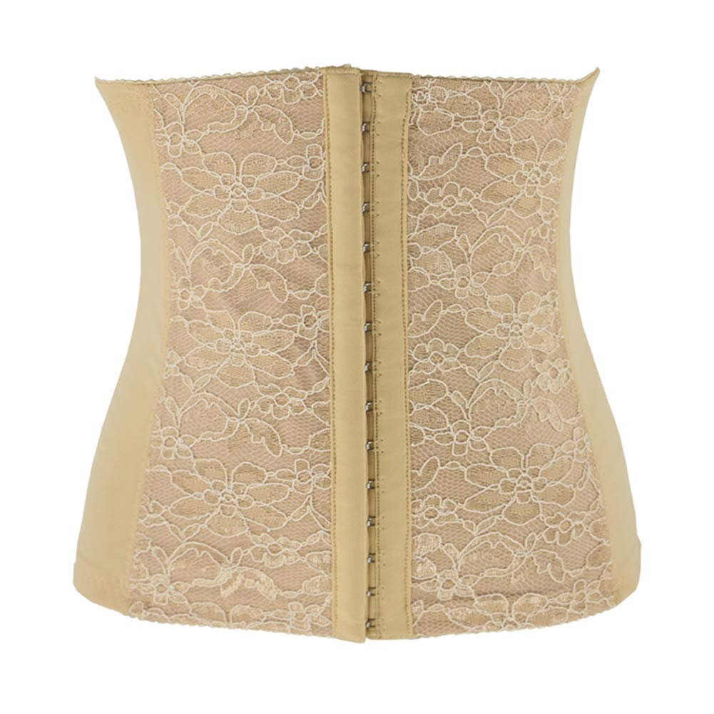 Body Sexy lace Postpartum Waistband Abdomen with Body Breathable Corset Ladies-Apricot-L