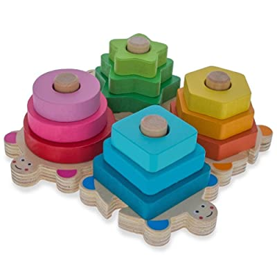 BestPysanky Baby Shape and Color Learning Wooden Blocks Set: Toys & Games