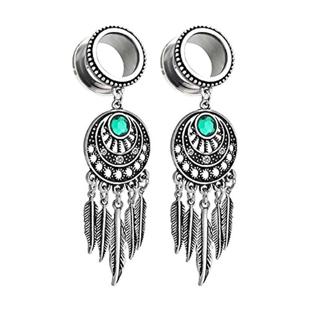 BodyJ4You Pair Surgical Steel Screw-Fit Gauges Tunnel Tribal Dangle Plugs Stretcher Ear Piercings 4G-16mm PL6316-0G