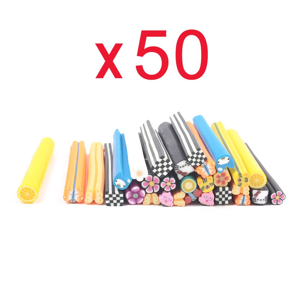 So Beauty 50pcs 3D Nail Art Manicure Flower & Fruit Fimo Canes Sticks Gel Tips Deco Forever Love