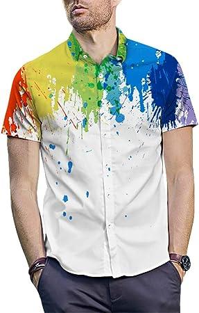 Susulv-MCL Camisa de los Hombres Camisa Hawaiana para Hombre Camisa de Playa Impresa en 3D Camisa de Manga Corta con Botones para Hombre Camisas Casuales de Verano M - XXL Camisas Casuales: