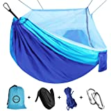 """Camping Hammock with Net Mosquito, Parachute Fabric Camping Hammock Portable Nylon Hammock for Backpacking Camping Travel, Double Single Hammocks for Camping 110""""(L) x 59""""(W)"""