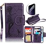 Galaxy S5 Leather Case,Sunroyal Premium Slim PU Leather Magnet Wallet Credit Card Holder Flip Cover with 9 Card Photo Slot [Cosmetic Mirror] Wristlet Clear Screen Protector For Samsung Galaxy S5 I9600