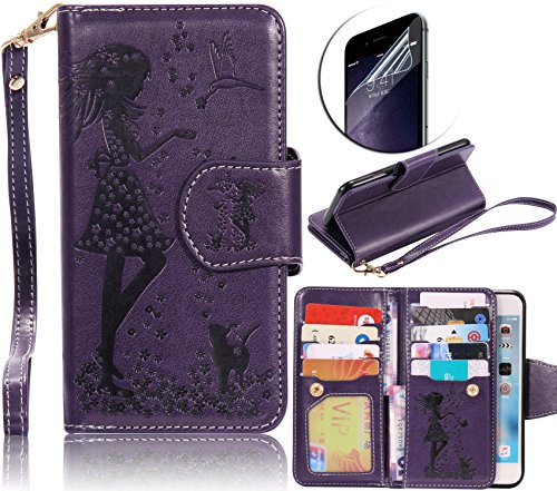 LG X Power Leather Case,Sunroyal Premium Slim PU Leather Magnet Wallet Credit Card Holder Flip Stand Cover with Built-in 9 Card Photo Slots [Cosmetic Mirror] Wristlet + Crystal Clear Screen Protector