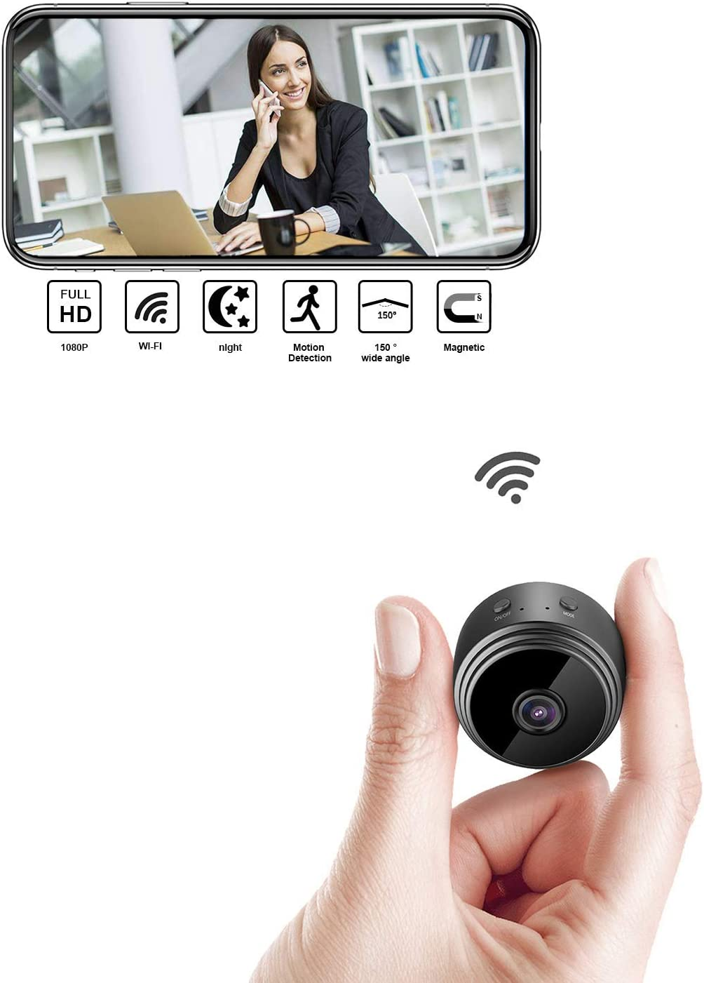 Mini Wireless Hidden Camera HD 1080P Portable Micro Camera with Motion Detectand Night Vision for for Home Monitoring Spy Camera Hidden Security Camera with Loop Recording Perfect