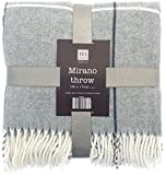 Country Club Checked Bed Sofa Throw Blanket with Fringe Tasselled Grey Cream 130 x 170 cm, Polyester, Double