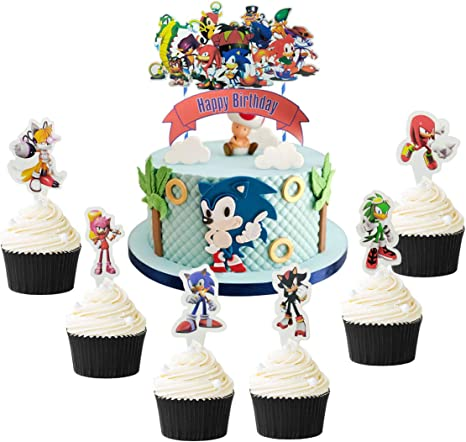 Amazon Com 25 Pcs Sonic The Hedgehog Cake Topper Hedgehog Theme Party Cake Decoration Toys Games