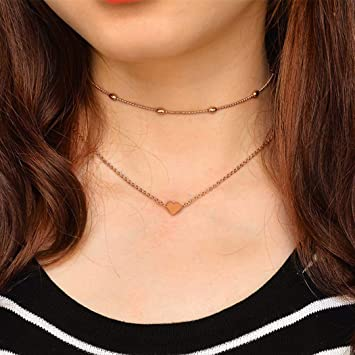 235387606896c Yalice Double Layered Heart Necklace Chain Ball Satellite Choker Necklaces  Jewelry for Women and Girls (Gold)