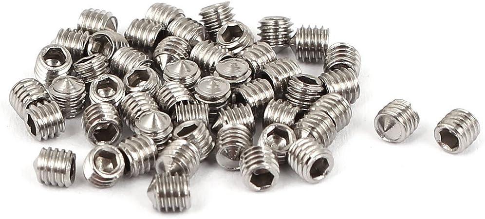 uxcell M3 x 4mm Cone Point Hex Socket Set Grub Screw Silver Tone 50 Pcs