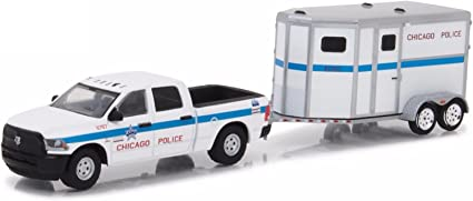 2017 DODGE RAM /& TRAILER CHICAGO POLICE HITCH /& TOW 11 1//64 GREENLIGHT 32110 D