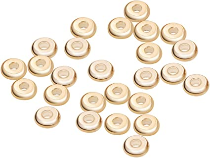BENECREAT 60 PCS 18K Gold Plated Spacer Beads Metal Beads for DIY Jewelry Making Findings and Other Craft Work Coulum Shape 3.5x4mm