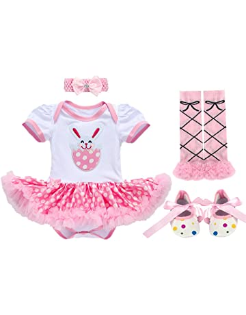 Newborn Infant Baby Girls Toddlers Kids My 1st Easter Eggs Bunny Rabbit  Romper Dress with Headband 2f9a95cdac6c