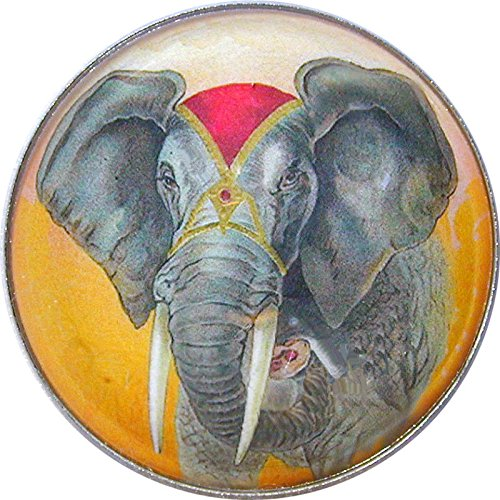 Crystal Dome Scrapbooking Buttons for Sewing DIY Crafts African Elephant Lg Sz ELE 01 PING
