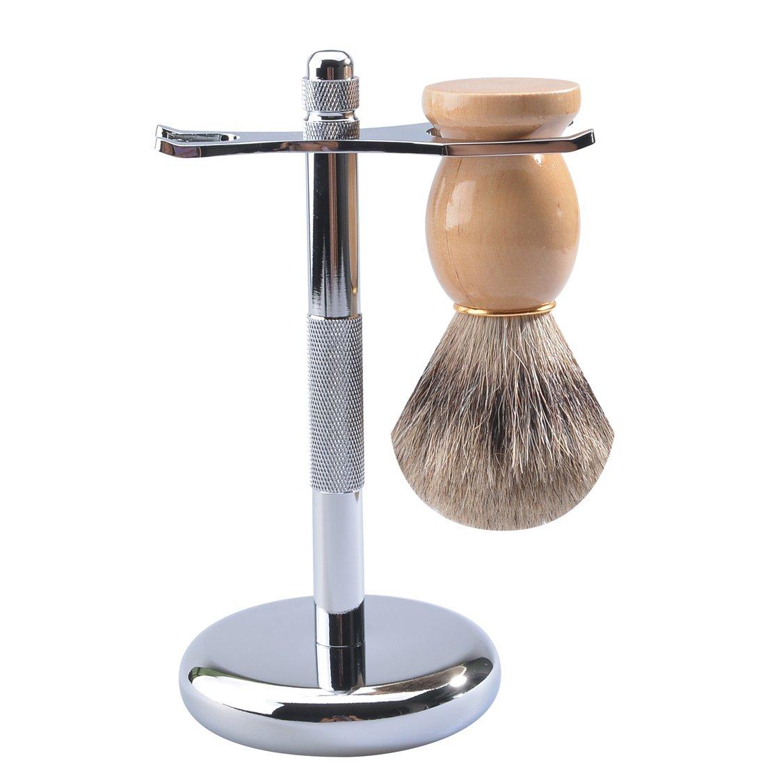 CSB Badger Hair Shaving Brush and Chrome Razor Stand Shaving Set