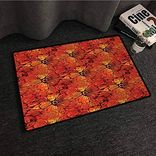 - DILITECK Printed Door mat Batik Grungy Distressed Nostalgic Victorian Style Flower Petals Romantic Female Retro Design Country Home Decor W35 xL59 Orange