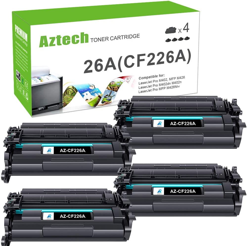 Aztech Compatible Toner Cartridge Replacement for HP 26A CF226A Laserjet Pro M402n M402dw M402dn Laserjet Pro MFP M426fdw M426fdn M426dw (Black, 4-Pack)