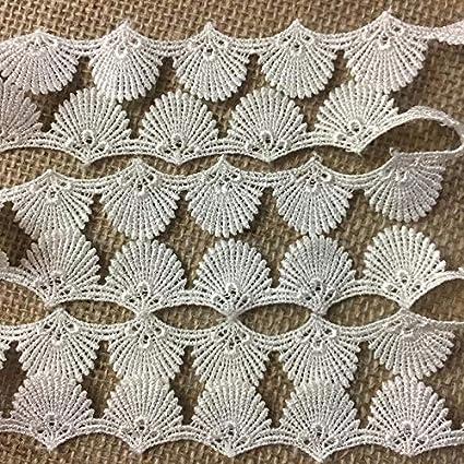 White 2 Yards Sea Shell Royal Fan Design Multi-Use Garments Children Bridal DIY Sewing Craft Veil Costume Scrapbook 1 Wide Venice Lace Trim Choose Color
