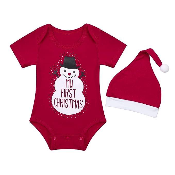 iiniim Traje de Navidad Manga Corta para Bebé Niño Niña Mi Primera Navidad Disfraz Muñeco de Nieve Pelele Unisex Mameluco Body con Sombrero Conjunto ...