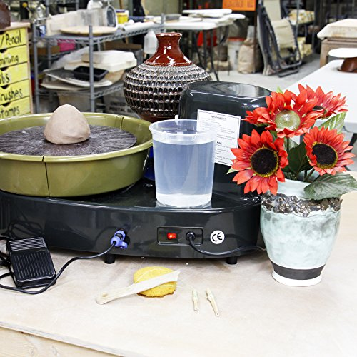 "U.S. Art Supply Table Top Pottery Wheel with LCD Wheel Speed Display - Includes Foot Pedal and 11"" Bat - Reversible Spin Direction - Ceramics Clay Pot, Bowl, Cup, Art"