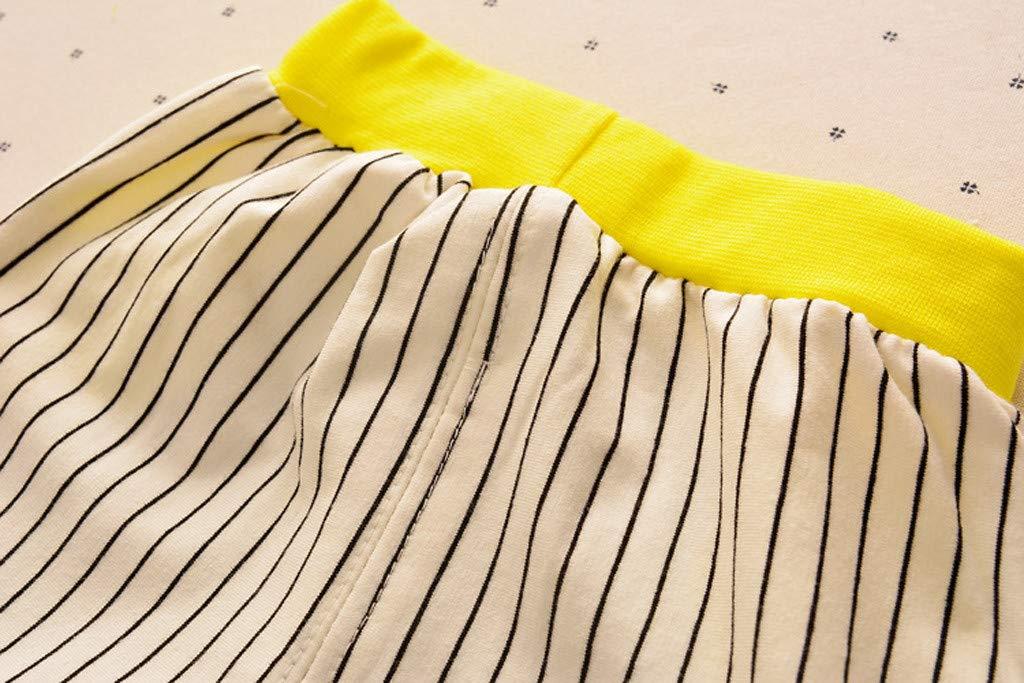 Cute Baby Boys Summer Pajamas Set | Toddler Boys Cartoon Vest Blue Tees Stripe Shorts Sets(Yellow,110) by Wesracia (Image #6)