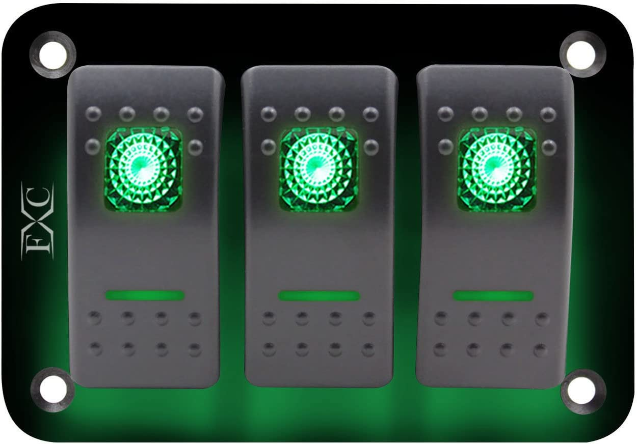 SODIAL 12V-24V 3 Grupos Panel de Interruptor basculante Palanca Luz LED Verde encendida apagada Coche Barco Marino