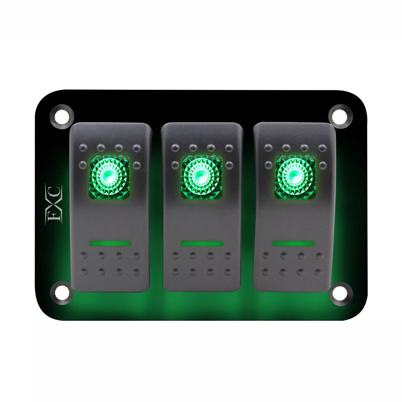 SODIAL 12V-24V-3-Gang-Toggle-Rocker-Switch-Panel-Green-LED-Light-On-Off-Car-Marine-Boat