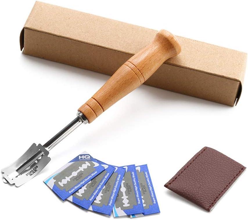 Inicio European Bread Holzgriff Gebogenes Brotmesser Brotschneider im westlichen Stil Geb/äck Bagel Home Kitchen Dough Scoring Tool