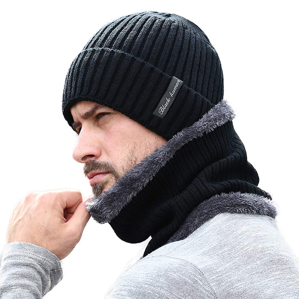 Thick Warm Winter Beanie Hat Fleece Lined Knit Hat Slouchy Outdoor Skull Cap Scarf Set