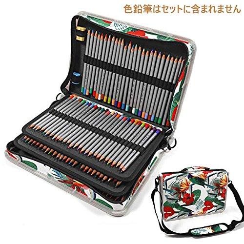 JAKAGO 160本 デッサン 鉛筆入れ多機能 色鉛筆ケース ペンシルホルダー ボールペン 収納 筆箱 大容量 シンプル ペンケース ショルダーベルト付き (緑の小鳥)