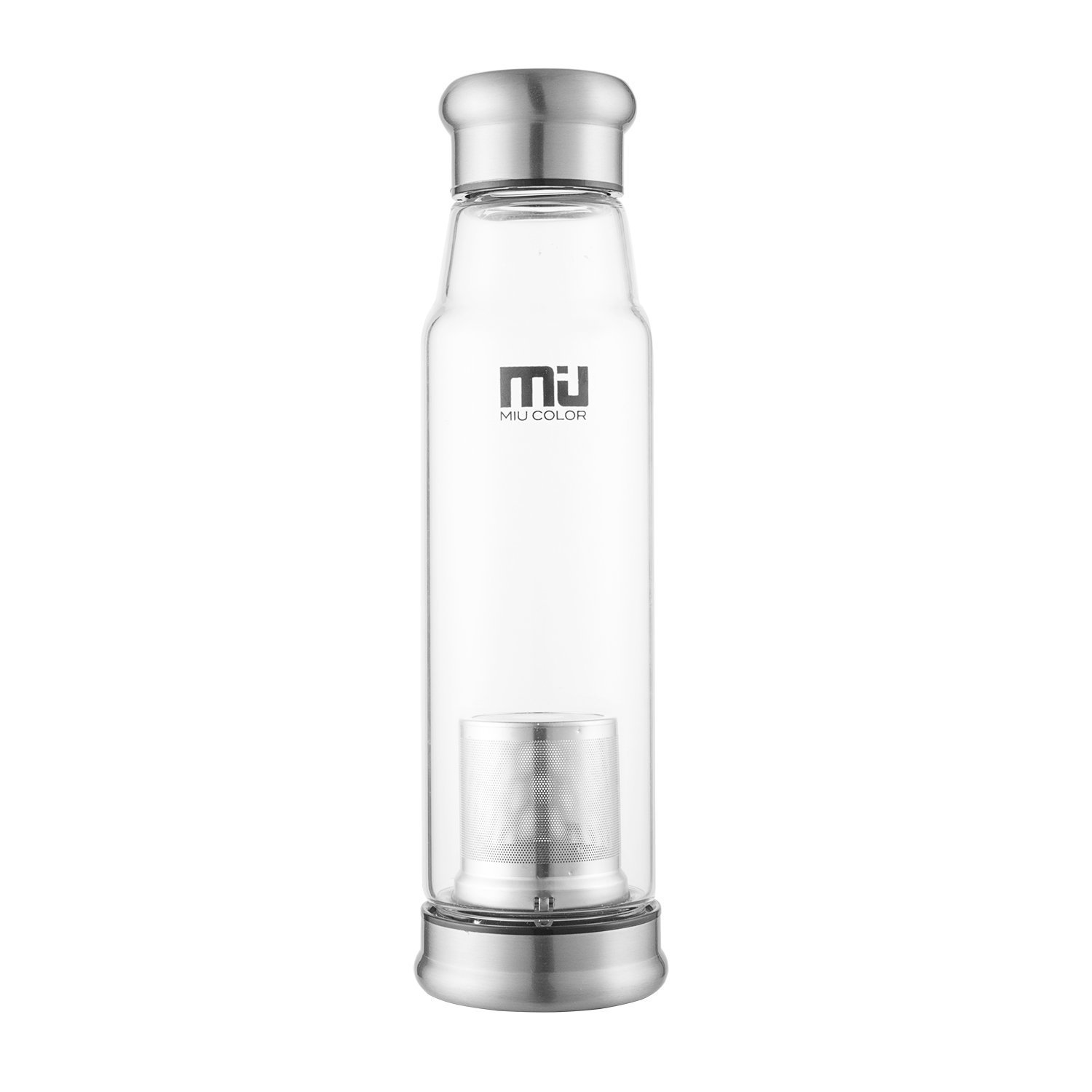 MIU color® elegante portátil Botella de cristal capacidad 700 ml mayor-Taza con filtro de té y funda de nailon para coche, color azul oscuro: Amazon.es: ...