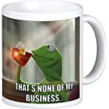 Kermit Sipping Tea Coffee Ceramic Mug 11 oz Thats None of My Business Emoji Meme king