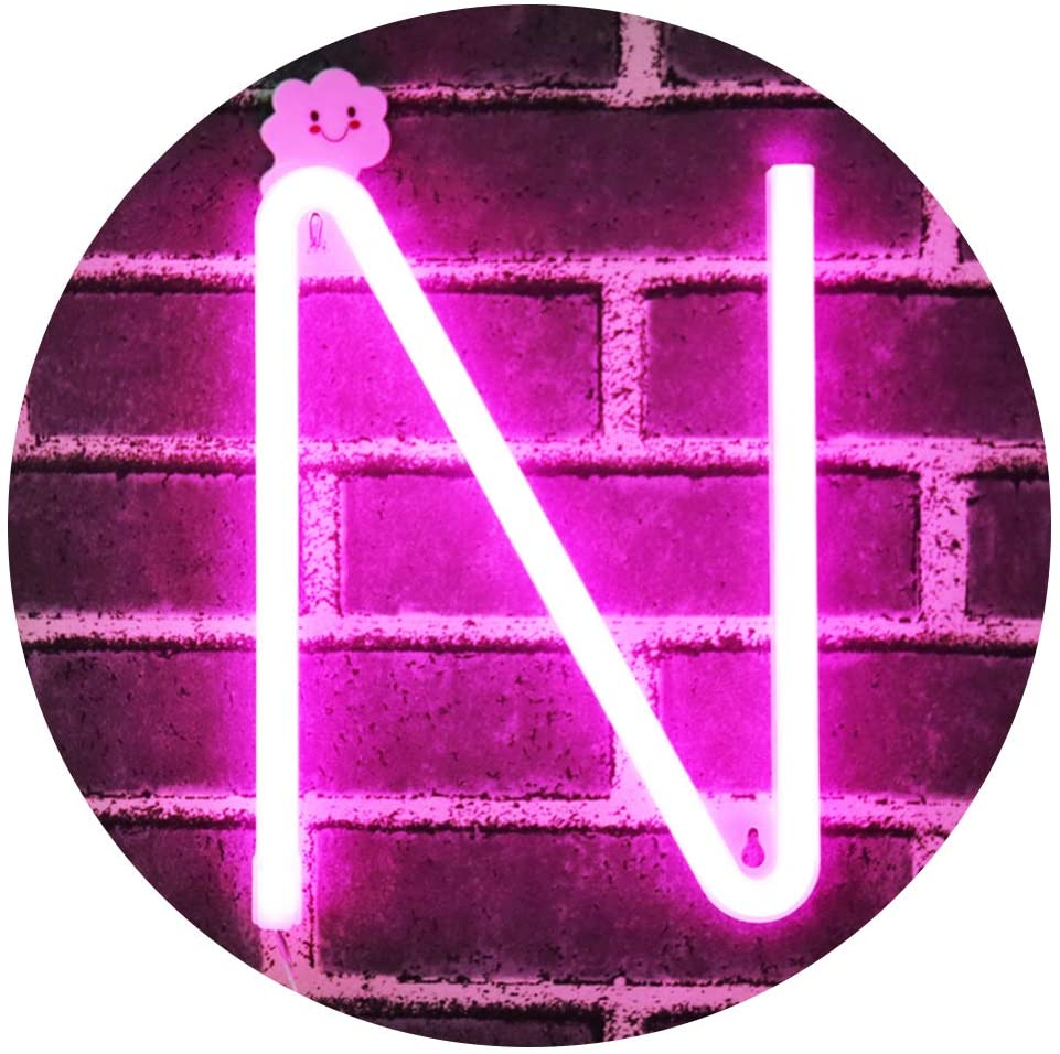 LED Neon Letters Light, Marquee Signs Light Up Letters USB Plug in Batteries Operated Night Light Pink Lamp Words Signs for Kids Teen Girls Bedroom Decor-Pink Letter N