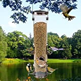 SEEYANG Classic Wild Bird Tube Feeder 6 Feeding Ports, Premium Plastic Squirrel Proof Bird Feeder Big With Hanger for Outside Inside (Bronze)