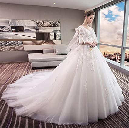 dbc6bed770ce1 Amazon.com: MEILV Wedding Dress Bride Dresses Sexy Long Tail Princess  Pregnant Women Fat Cover Pregnant Belly Plus Size Dresses: Sports & Outdoors