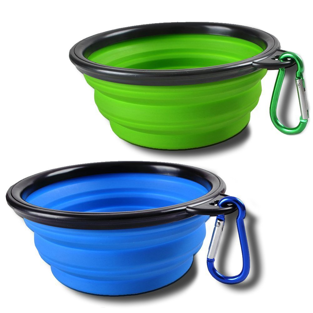 Sabuy Collapsible Dog Cat Travel Bowl, Set of 2 Pet Pop-up Food Water Feeder Foldable Bowls with Carabiner Clip, Blue and Green