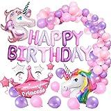 MMTX Einhorn Geburtstagsdeko Mädchen, Einhorn Party Dekorationen, Alles Gute zum Geburtstag Ballon Banner Decko für Kleinkinder Mädchen Boy Lady Birthday Party, Hochzeit (60Stück)