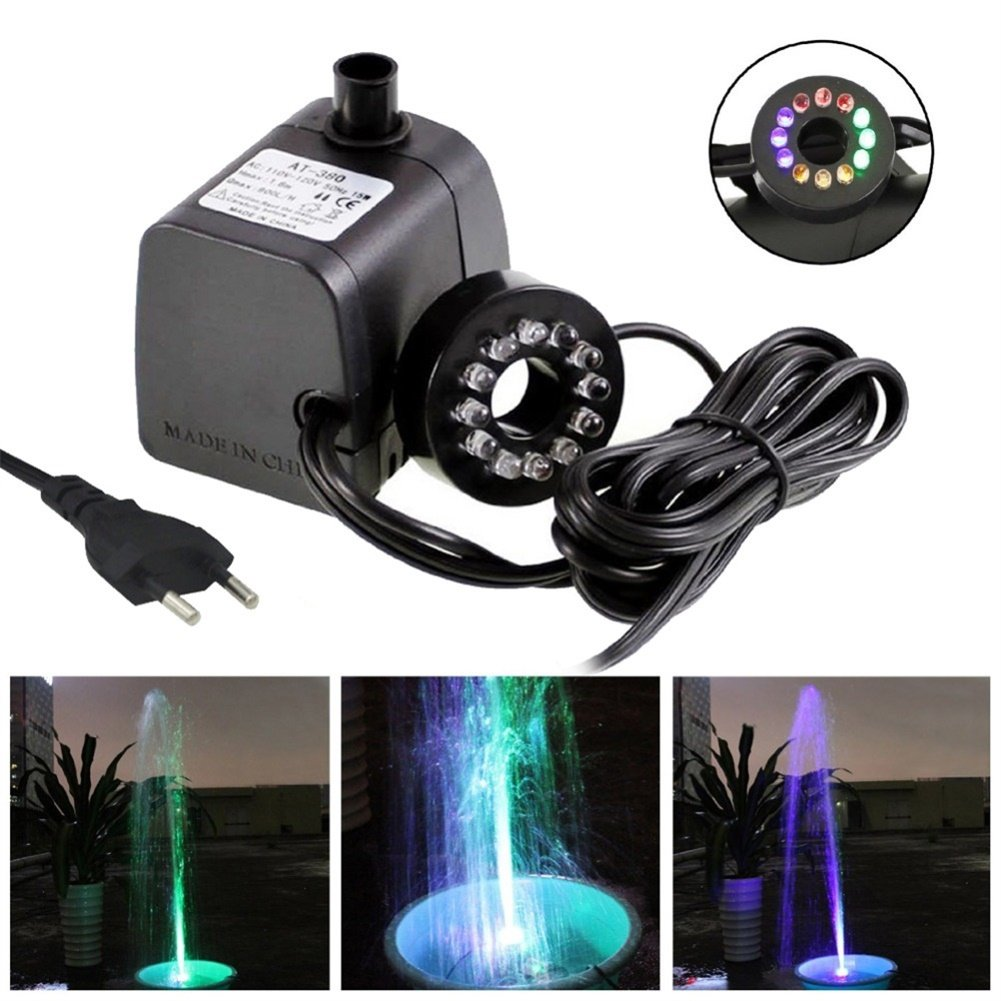Alician Practical Mini Submersible Water Pump with LED Light for Aquariums KOI Fish Pond Fountain Waterfall