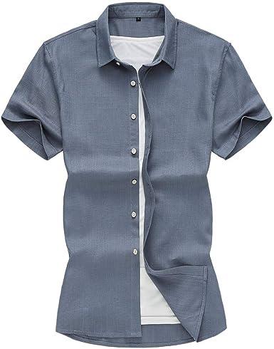 Camisa de Lino para Hombre Talla Grande 5XL 6XL 7XL 2019 Verano sólido Moda Casual Camisa de Manga Corta Ropa Masculina: Amazon.es: Ropa y accesorios