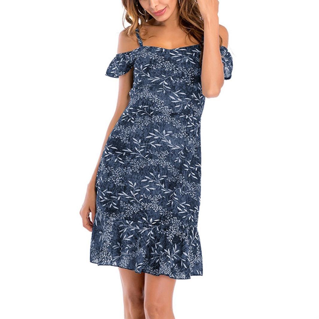 Vestido de verano con hombro frío - Saihui floral sexy Spaghetti correas Sling vestidos de gasa Túnica Tops con volantes Hem detalle small azul marino: ...