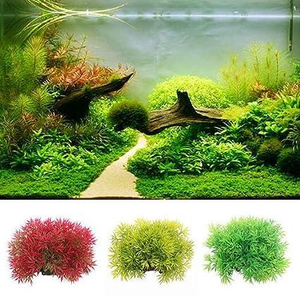 quanjucheer Adornos de hierba de agua de plástico para acuario para pecera, decoración de paisaje