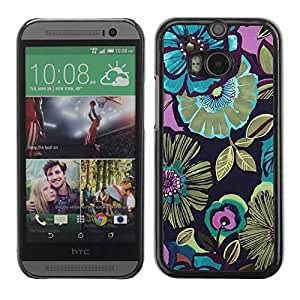 Hard Protector Case Cover Slim Back Shell for HTC One M8 /Green Gold Spring Flowers Pattern/ STRONG