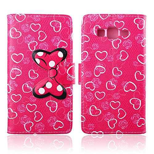 Galaxy Grand Prime G530h Case,DELELE MOUSE Monster Bowknot Premium PU Leather Stand Wallet Flip Case with Card Slots,Folio Closure Cover for Samsung Galaxy Grand Prime G530h (Rose Pink Love Heart Bow Bowknot)
